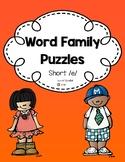 Word Family Puzzles: Short /e/