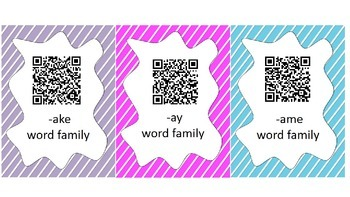 Word Family Race QR Code Center Game - Long A Vowel Families
