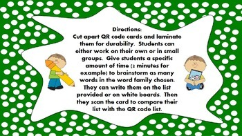 Word Family Race QR Code Center Game - Long O Vowel Families