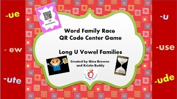 Word Family Race QR Code Center Game - Long U Vowel Families