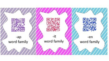 Word Family Race QR Code Center Game - Short Vowel Families