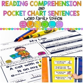 Word Family Reading Comprehension Bundle -Activity Sheets and Pocket Chart Cards