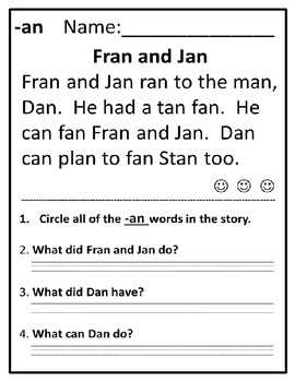 Word Family Reading Comprehension Passages 2