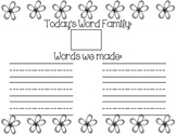 Word Family Record Sheet - Spring Edition