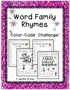 Word Family Rhymes Color by the Code