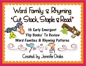 Word Family & Rhyming 'Cut, Stack, Staple, Read' Early Emergent Flip Books!