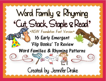 Word Family & Rhyming Cut, Stack, Staple, Read Flip Books ~NSW Foundation Font~