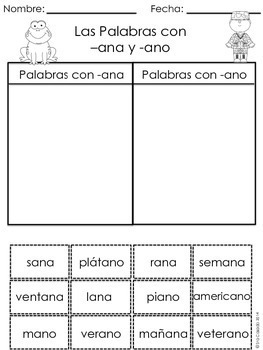 Word Family Rhyming cut and paste sort (Spanish)