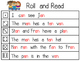 Word Family Roll, Read & Write