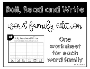 Word Family Roll, Read and Write