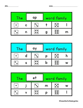 Word Family Roll, Write & Read for Word Work
