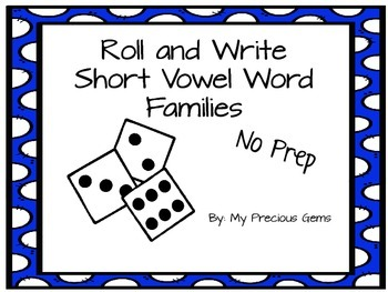 Word Family Roll and Write