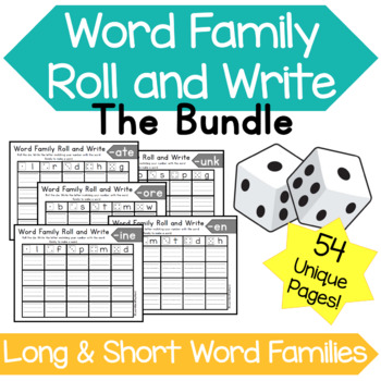Word Family Roll and Write Bundle