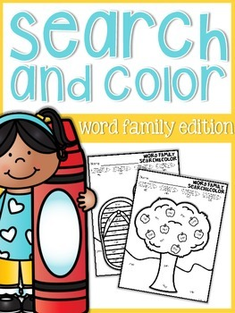 Word Family Search and Color {seasonal sheets}