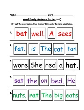Word Family Sentence Puzzles!