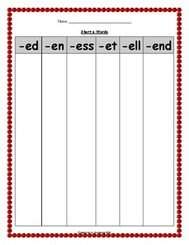 Word Family Short Vowel Sort