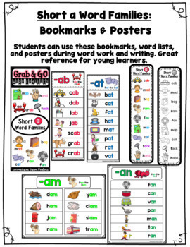 Word Family Short a: Bookmarks, Word Lists, Posters