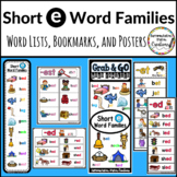 Word Family Short e: Bookmarks, Word Lists, Posters