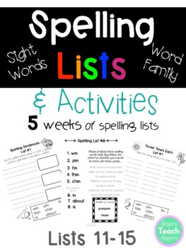 Word Family & Sight Word Spelling Lists and Activities *NO PREP*