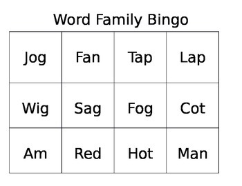 Word Family Site Word Bingo Game