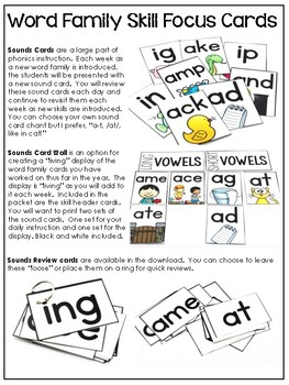 Word Family Skill Focus Cards