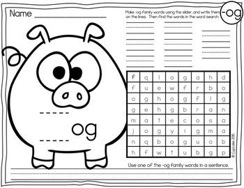 Word Family Slide & Find for Short Vowels