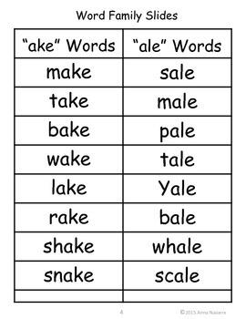 Word Family Slide - Sample Set