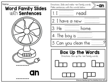 Word Family Slides with Sentences (113 Word Families)