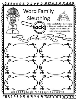 Word Family Sluething