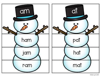 Word Family Snowmen Literacy Center