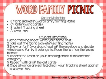 Word Family Sort Center Activity