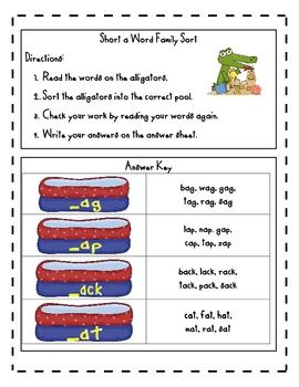 Word Family Sort- Short a (alligators)