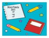 Word Family Sort: -at, -ot, -ug