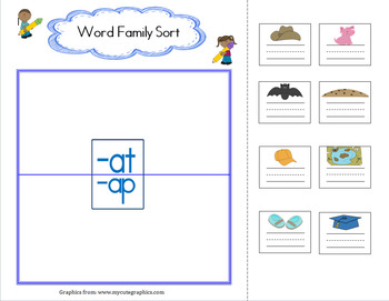 Word Family Sort at_ap blank
