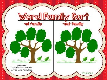 Word Family Sort -ell and -eat