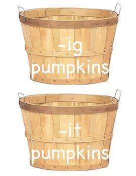 Pumpkin Word Family Sort -ig, -it, -ag, -at
