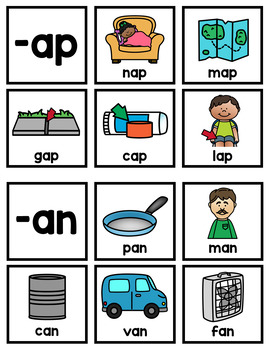 Word Family Sorting Cards