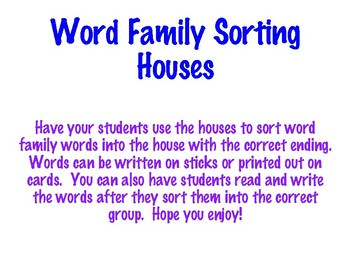 Word Family Sorting Houses