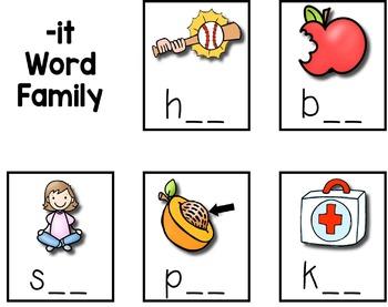 Short I CVC Word Sort --- Word Family Sorting Mats and Pocket Chart