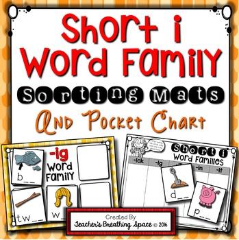 Short I CVC Word Sort --- Word Family Sorting Mats and Poc