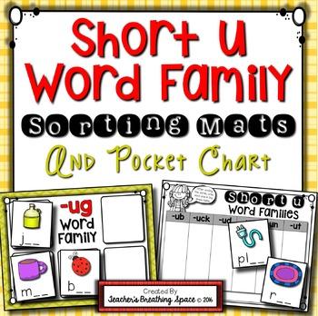 Short U CVC Word Sort --- Word Family Sorting Mats and Pocket Chart