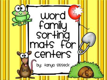 Word Family Sorting Mats for Centers