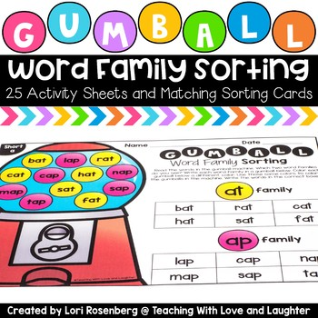 word family sorting sheets and pocket chart cards tpt