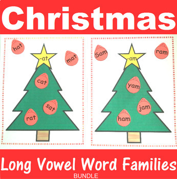 Word Family Sorting with Christmas Trees Long Vowels Bundle