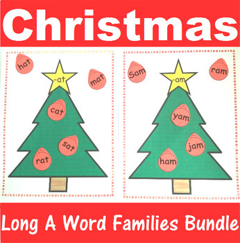 Word Family Sorting with Christmas Trees Long A Bundle