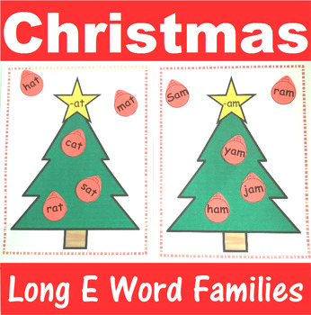 Word Family Sorting with Christmas Trees Long E