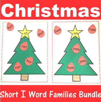 Word Family Sorting with Christmas Trees Short I Bundle