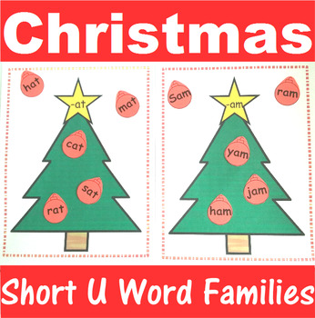 Word Family Sorting with Christmas Trees Short U