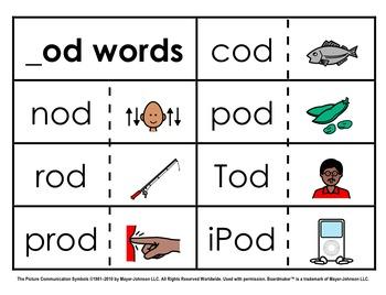 Word Family Sorts - Short Vowels (Set 4: Short O)