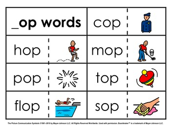 Word Family Sorts - Short Vowels (Set 4: Short O)